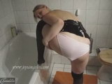 asian woman pooping