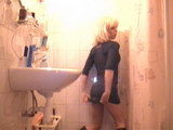 Scat shir in mouth, toilet camera video