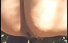 Sexy woman poops in nature - outddoor scat