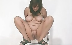 Young fat girl shit from chair