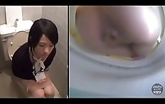 Japanese girl pooping on toilet