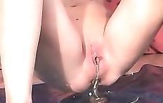 Blonde woman poops