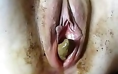 Amateur pussy full of shit