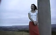 Young woman outdoor pooping video