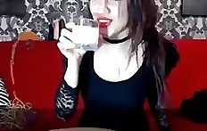 Cute romanian whore drink milk and deepthroat vomit