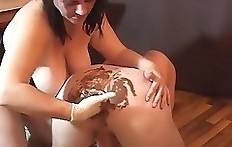 Woman shits on husbands ass