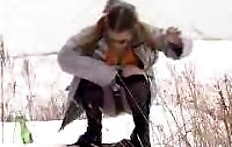 Girl with big tits pissing in the winter