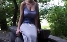 Blonde with big tits shit in the woods