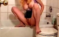 Blonde peeing, pooping and masturbating in the toilet
