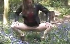 Chick piss on blue flowers