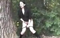 Pee behind a big tree