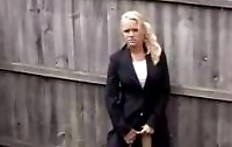 Sexy petite blonde peeing in the yard