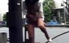 Asian girl enema and shit on the street